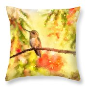 The Bubbly World Of A Hummingbird Throw Pillow