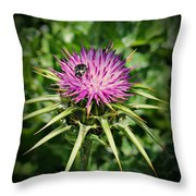 The Bug And The Thistle Throw Pillow