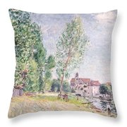 The Builder's Yard At Matrat Moret-sur-loing Throw Pillow by Alfred Sisley