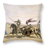 The Bull Following Up The Charge, 1865 Throw Pillow