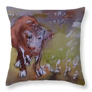 The Bullock, 1983 Pen & Ink With Wc On Paper Throw Pillow