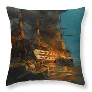 The Burning Of A Turkish Frigate Throw Pillow
