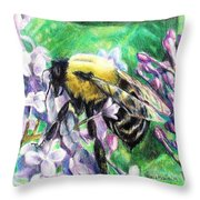 The Busy Bee And The Lilac Tree Throw Pillow