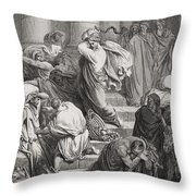 The Buyers And Sellers Driven Out Of The Temple Throw Pillow by Gustave Dore