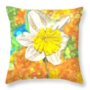 The Buzzing Life Of A Spring Narcissus Throw Pillow