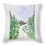 The Cabin Throw Pillow by Judy M Watts-Rohanna