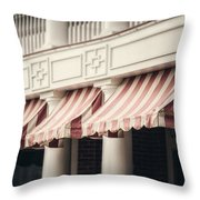 The Cafe Awnings At Chautauqua Institution New York  Throw Pillow