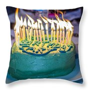The Cake Is On Fire Throw Pillow