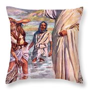 The Call Of Andrew And Peter Throw Pillow by Harold Copping