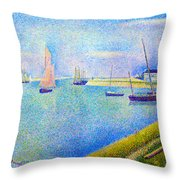 The Canal At  Gravelines Throw Pillow