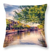 The Canal In Downtown Scottsdale Throw Pillow