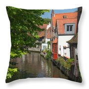 The Canal In The Downtown Of Bruges  Throw Pillow