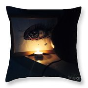 The Candle Lit Eye Throw Pillow