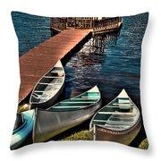The Canoes At Big Moose Inn Throw Pillow