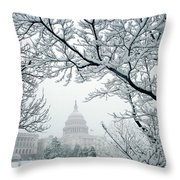 The Capitol In Snow Throw Pillow