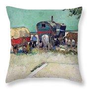 The Caravans   Gypsy Encampment Near Arles Throw Pillow by Vincent Van Gogh