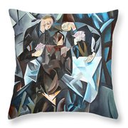 The Card Players Throw Pillow