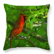 The Cardinal 2 Painterly Throw Pillow