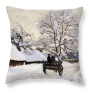 The Carriage- The Road To Honfleur Under Snow Throw Pillow