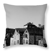 The Castle Above The Village Panorama In Black Nd White Throw Pillow