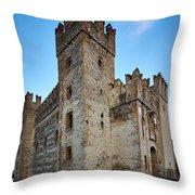 The Castle Of Sirmione. Lago Di Garda Throw Pillow