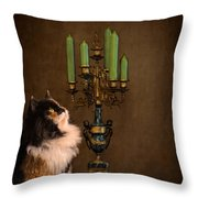The Cat And The Candelabra Throw Pillow