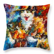 The Cat And The Guitar Throw Pillow