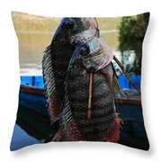 The Catch - Begnas Lake - Nepal Throw Pillow