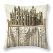 The Cathedral Of Milan Throw Pillow