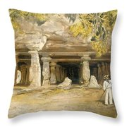 The Cave Of Elephanta, From India Throw Pillow
