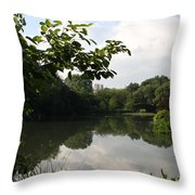 The Central Park Pond Throw Pillow