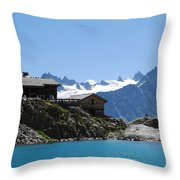 The Chalet At Lac Blanc Throw Pillow by Camilla Brattemark