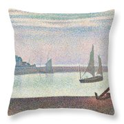 The Channel At Gravelines In The Evening Throw Pillow