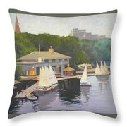 The Charles River Sailing Club Throw Pillow