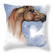 The Chestnut Arabian Horse 4 Throw Pillow