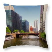 The Chicago River South Branch Throw Pillow