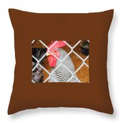 The Chicken Fence Throw Pillow