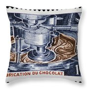 The Chocolate Factory Vintage Postage Stamp Throw Pillow