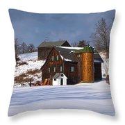 The Christmas Barn Throw Pillow
