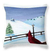 The Christmas Cardinal Throw Pillow by Spencer Hudon II