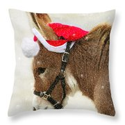 The Christmas Donkey Throw Pillow
