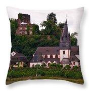 The Church And Heimburg In Niederheimsbach Am Rhein Throw Pillow