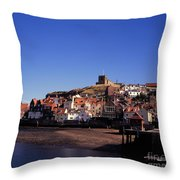 The Church Of St Mary's And Whitby Abbey North Yorkshire England Throw Pillow