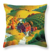 The Cider Mill Throw Pillow by Robin Moline