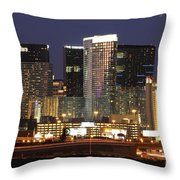 The City Center At Las Vegas Strip Throw Pillow