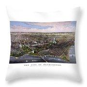 The City Of Washington Birds Eye View Throw Pillow