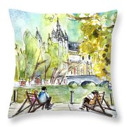 The City Park In Budapest 01 Throw Pillow