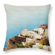 The Cliffside - Santorini Throw Pillow