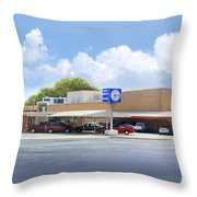 The Clock Drive-in Throw Pillow