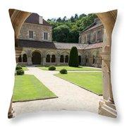 The Cloister Courtyard - Cloister Fontenay Throw Pillow